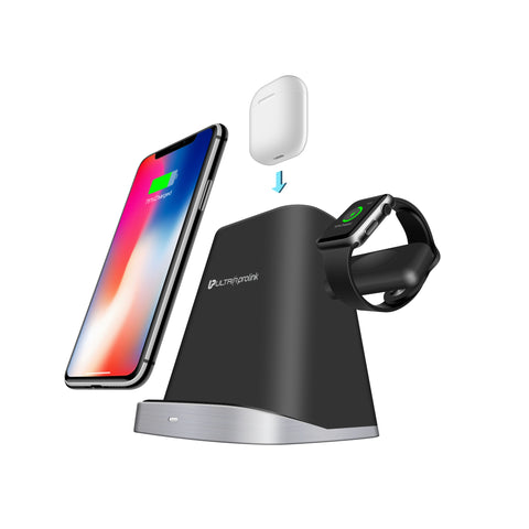 UltraProlink UM1006 Vylis Dock 10W 3 in 1 Fast Wireless Charging Stand Dock Compatible iPhone 8/8S/10/11 , Airpods, Watch & All Qi Enabled Phones