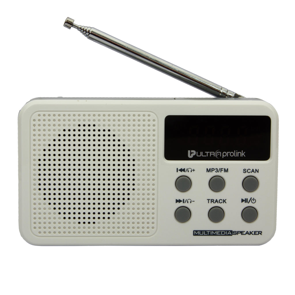 UltraProlink UM0017 Retro Vintage Classic Portable Speaker with FM Radio, Micro SD Card & USB Pen Drive Slots 3W (White)