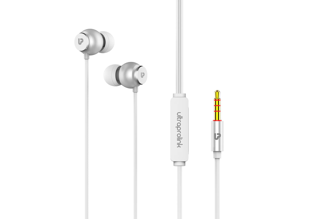 UltraProlink UM1017 MoBass+ HandsFree Earphone with Mic for Mobile  with Noise Isolation & High Bass(Silver)