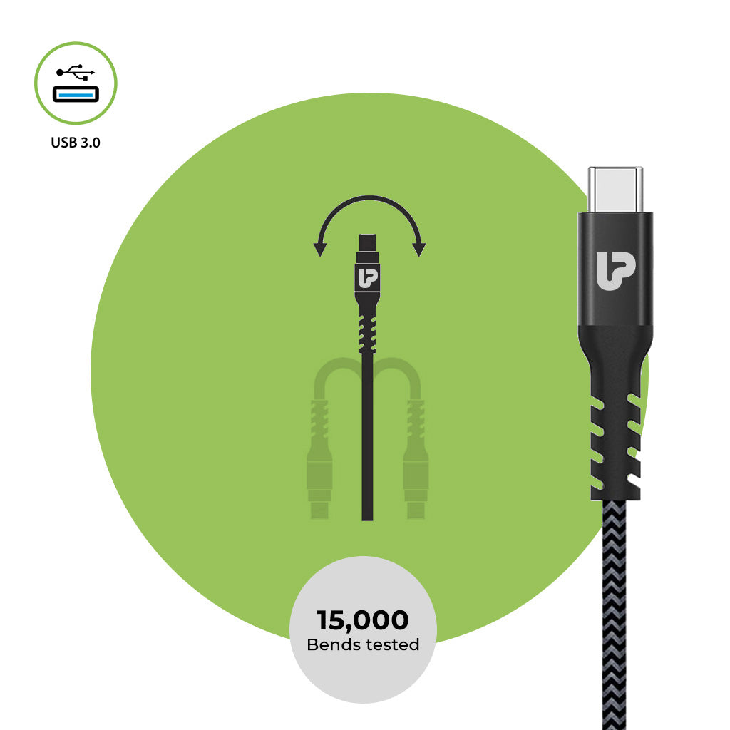 UltraProlink UL1009 NYLOKEV-C 3A Type C to USB-A .0 Male Fast Data Sync Charging Cable 1.5m (4.9 Feet) Long cable Compatible with all Type C devices- One Plus, Oppo, Vivo, Huawei, Realme,Samsung ( Black)