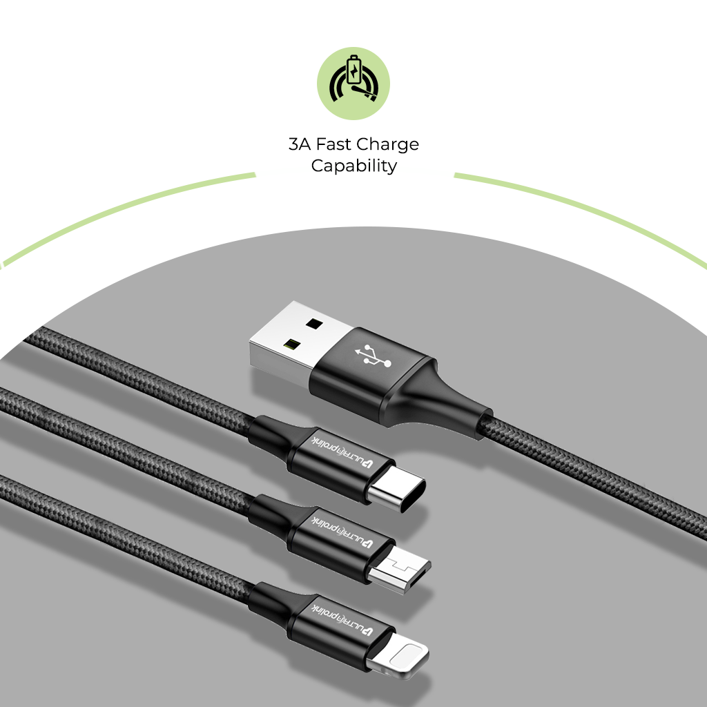 Zync Trio-Link 3-in-1 Fast Charging Cable for Usb Type C,Micro and Apple iOS Connectors UL1015