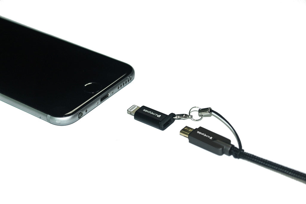 UltraProlink UL0076 Micro USB Convertor Combo Pack : Micro USB to Type C convertor x 1 and Micro USB to iPhone convertor x 1 /  Data Sync and Charging