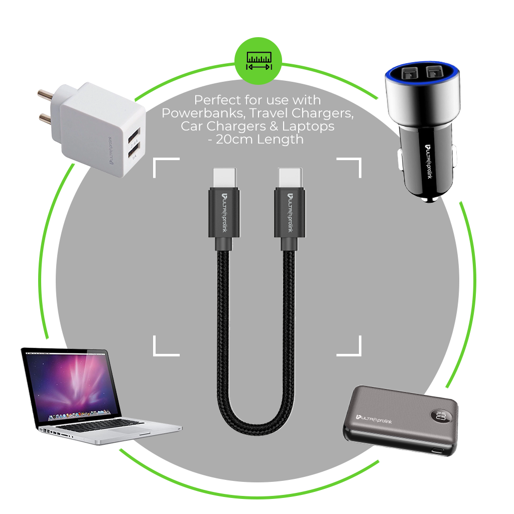 UltraProlink UL1010 USB Type C-C Short 20cm Cable for Power banks, 3A Fast Charging & Data Transfer compatible for Syska, Mi, Ambrane, Oppo, Vivo, One Plus, Xiaomi, Realme, Redmi, Nokia, Samsung & all Android phones