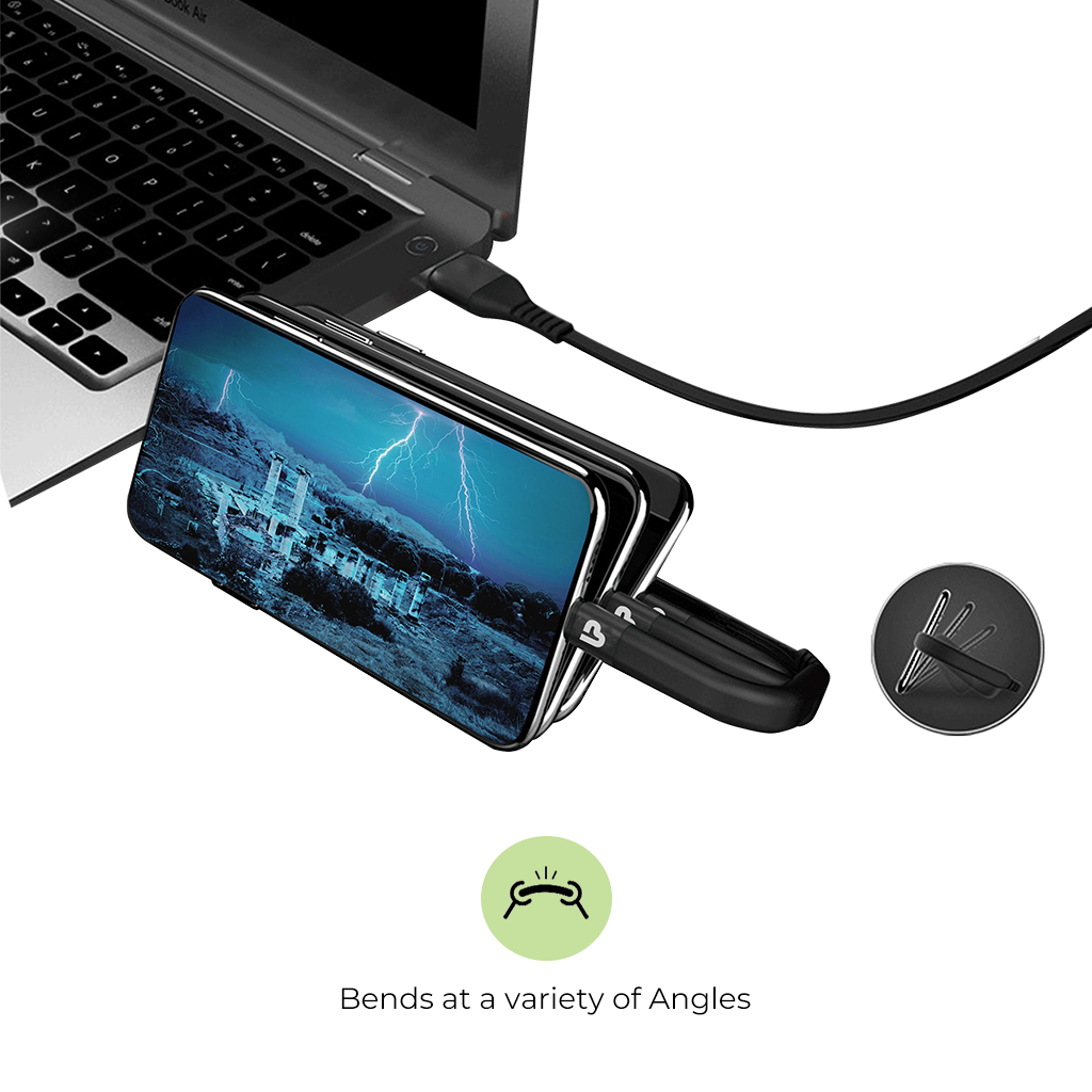 Flex Micro USB Sync & Fast Charge Cable with Flexible Stand 1.2m,2.4A UL1011M (Black)