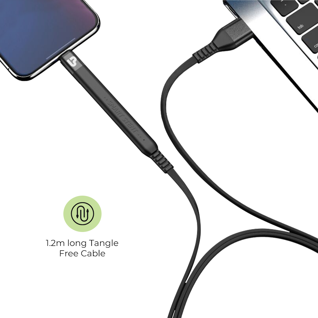 UltraProlink UL1011L-0020 Flex USB Sync & Fast Charge Cable For iPhone with Flexible Stand 1.2m,2.4A (Black)
