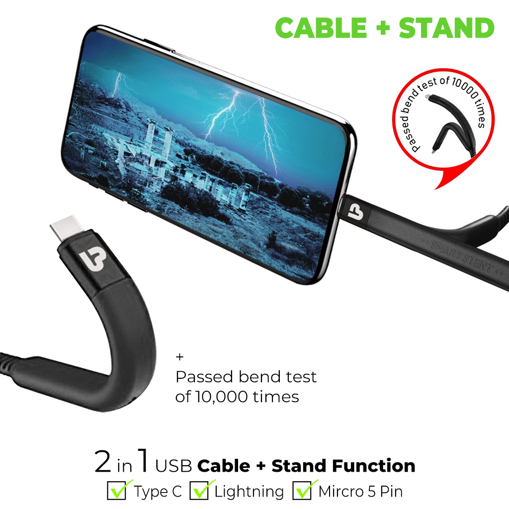 Flex USB Type C Sync & Fast Charge Cable with Flexible Stand 1.2m,2.4A UL1011C (Black)