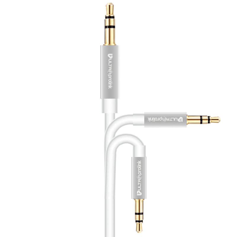 UltraProlink UL107 Car Aux Audio Cable 3.5mm - 3.5mm Male to Male Gold Plated Aux Audio Cable 1.5m (White)