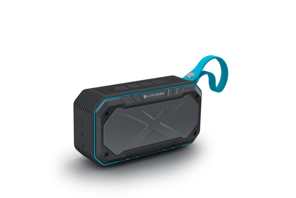 UltraProlink UM0070 Hi-Q Bravo Waterproof IPX7 Wireless Portable Bluetooth Multimedia Speaker with Deep Bass, Aux In, SD card ,FM Radio with Mic for Mobile Smartphones 10 Hour Play Time(Blue)