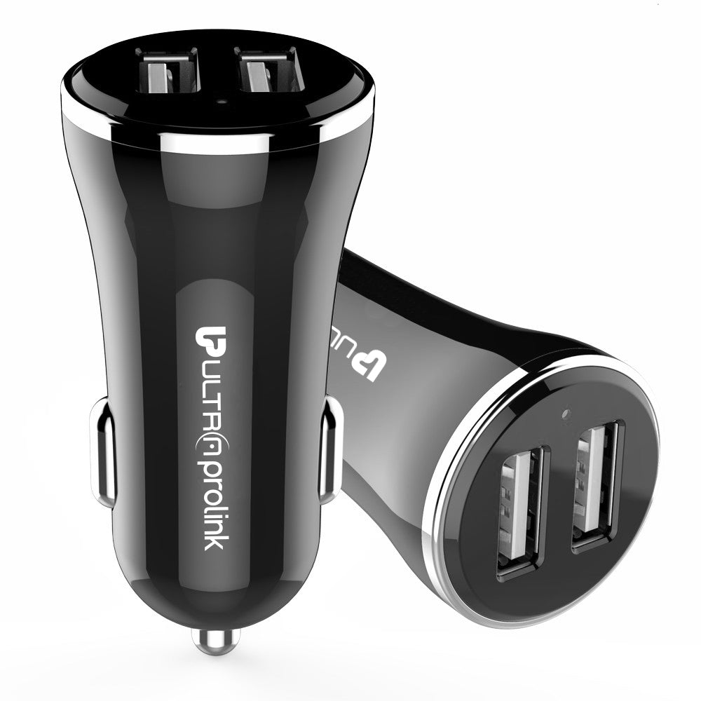 UltraProlink UM0082 ZipKit Dual USB Fast Car Charger 2.4A/12W + 3 in 1 Fast Charging Cable for Fast Charging iPhone, Samsung, One Plus, Oppo, Vivo, Mi, Redmi