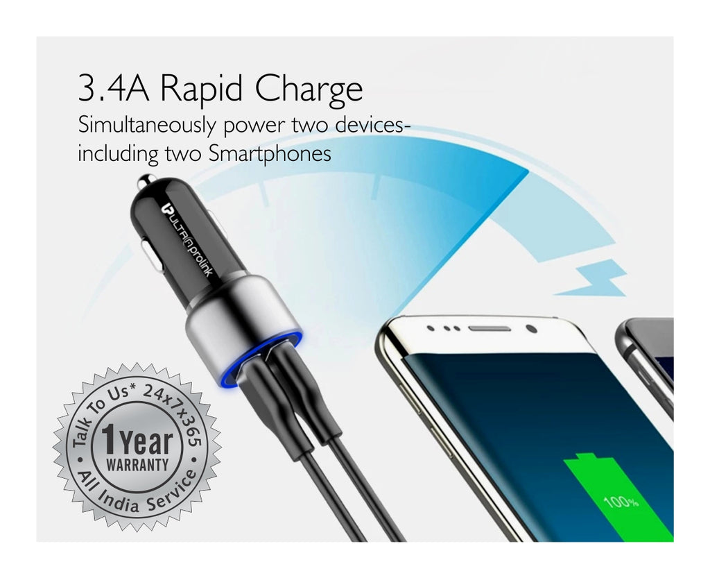 UltraProlink UM1000 Octane Dual USB Fast Car Charger 3.4A/14W + Micro USB Charging Cable for Fast Charging iPhone, Samsung, One Plus, Oppo, Vivo, Mi, Redmi