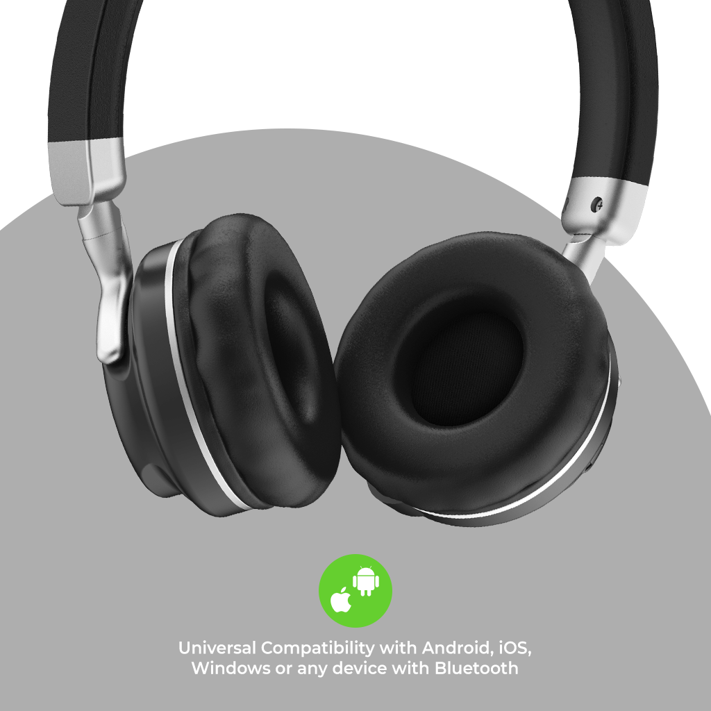 Bluetooth Wireless Headphones with Memory Card, Aux Input & 10 Hour Playtime UM100 (Black)