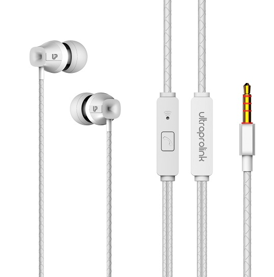 UltraProlink UM1016 MoBass Noise Isolation Wired Earphone with Mic for Mobile (White)