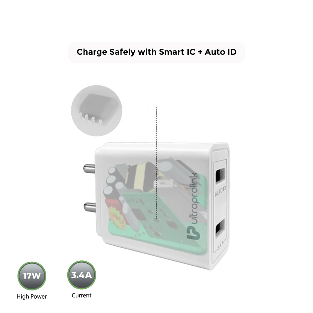 Boost17- 3.4A/17W Dual USB Fast Charging Travel Adapter with Auto ID & 1m Type C Cable