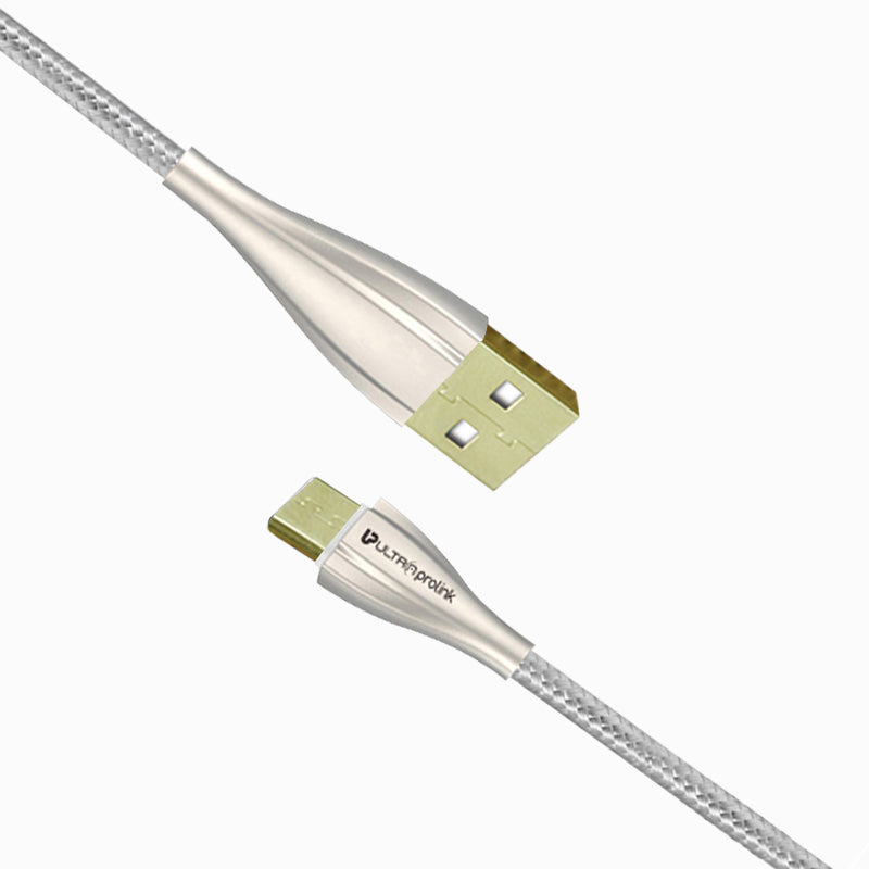 UltraProlink UL0056 Zync Micro USB Data & Fast Charging Nylon Cable 1.5m (White) for Nokia, Samsung, Oppo, Vivo, Xiaomi, Redmi, Realme & other Android Phones- 1.5m Long
