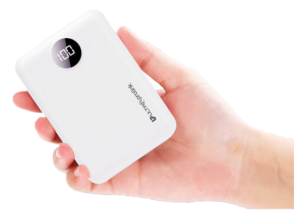 UltraProlink UM0101 Boost Mini  10000mah Li-Polymer Power Bank with 2 inputs & 2 outputs 10.2W Fast Charging (White)
