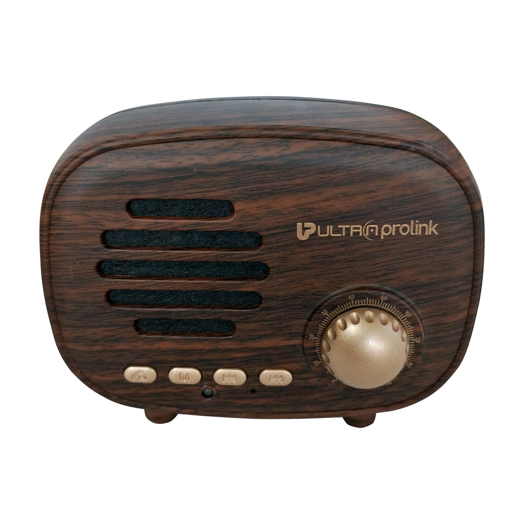 UltraProlink UM0097 Retro BT Wireless Vintage Classic Portable Bluetooth Speaker with FM Radio, Micro SD Card & USB Pen Drive Slots 3W (Brown)