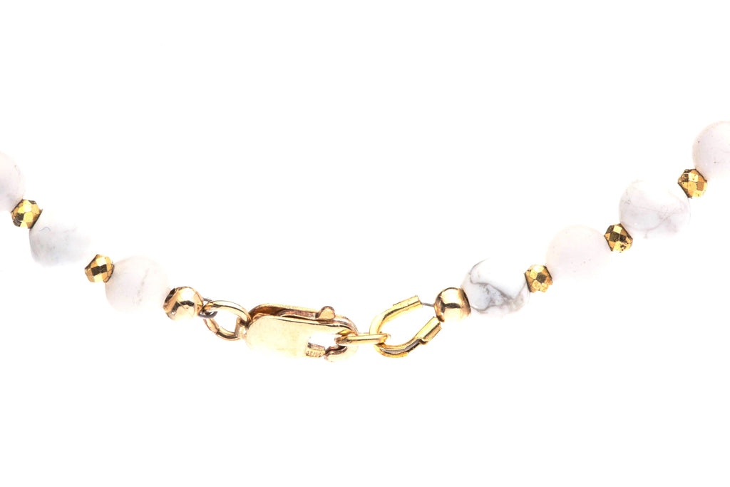 Crystal Healing Cal Bracelet Howlite Lace Agate Pyrite 14K Gold Clasp - Popvibe