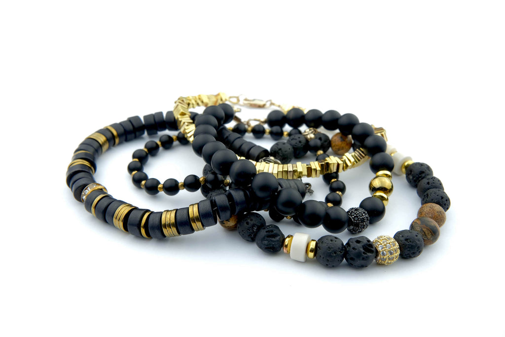 Crystal Healing Jewelry Black Gold Bead Bracelet Front | Popvibe