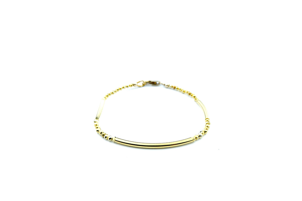 Crystal Healing Jewelry Gold Pyrite Bead Bracelet Front | Popvibe