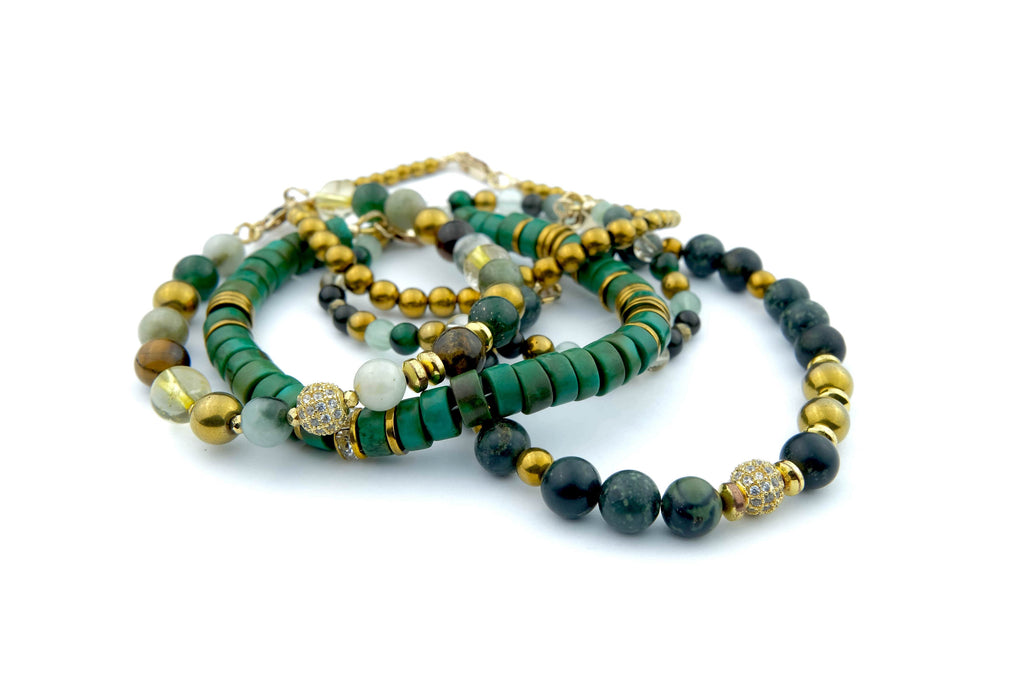 Crystal Healing Jewelry Green Gold Bead Bracelet Front | Popvibe