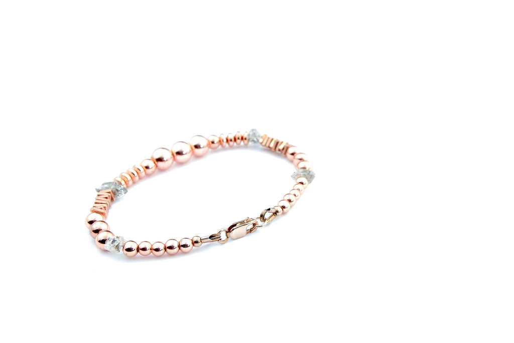Crystal Healing Jewelry Herkimer Diamond Rose Gold Hematite Bead Bracelet Back | Popvibe