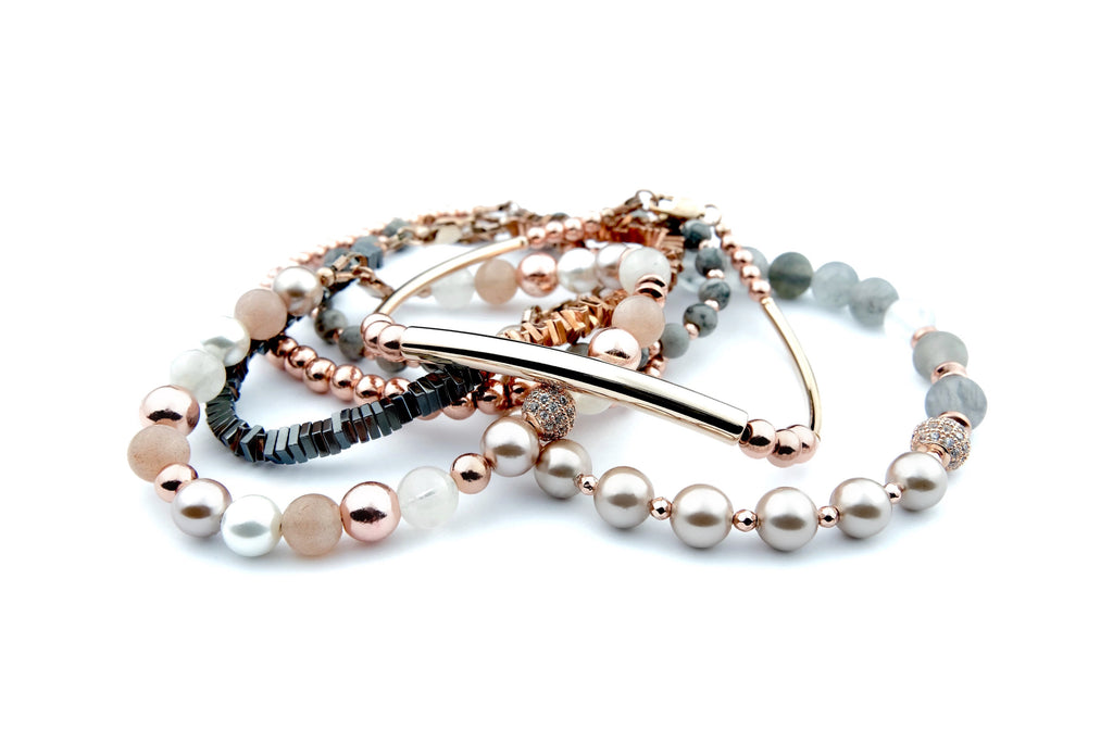 Crystal Healing Jewelry Rose Gold Gray Bead Bracelet Front | Popvibe