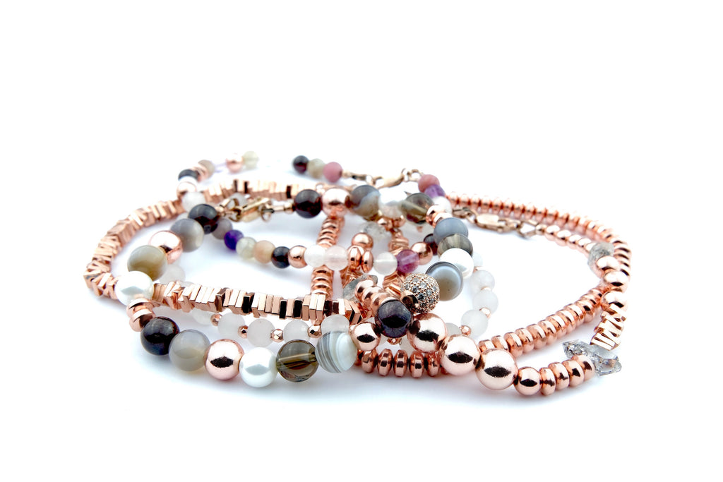 Crystal Healing Jewelry Rose Gold White Bead Bracelet Front | Popvibe