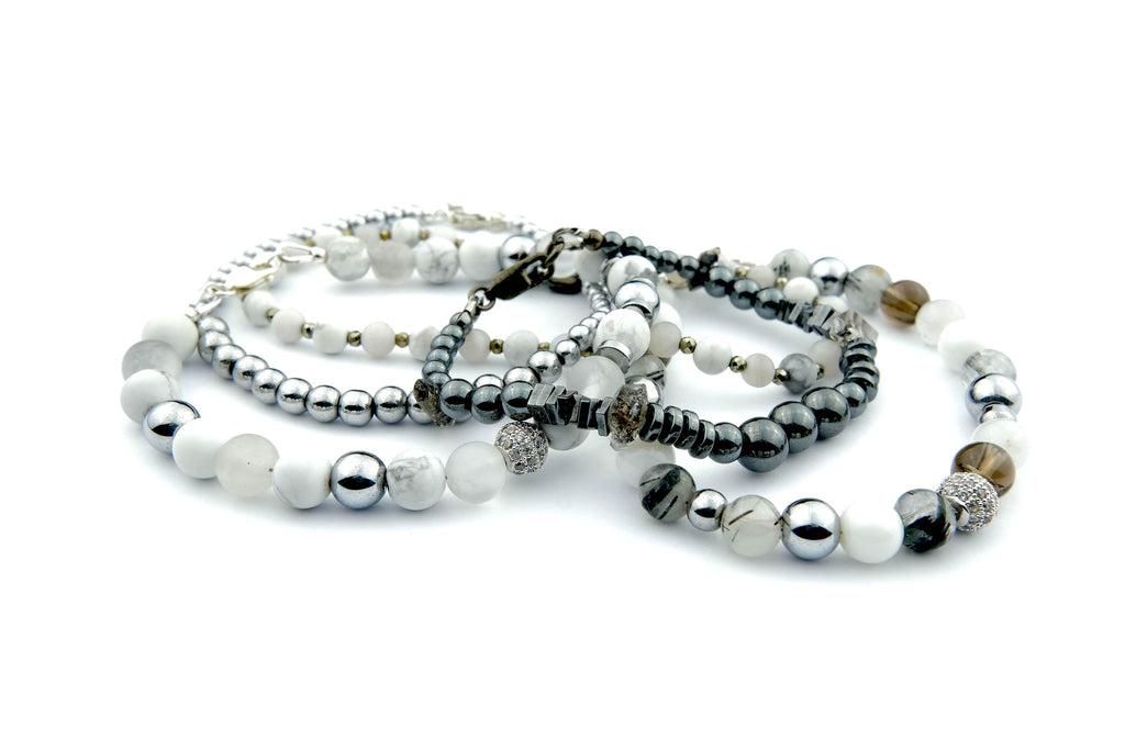 Crystal Healing Jewelry Silver White Bead Bracelet Front | Popvibe