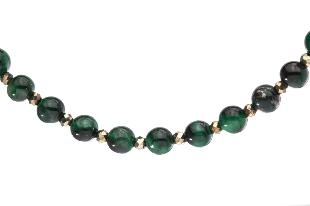 Crystal Healing Men Love Finder 02 Bracelet Malachite Epidote Tiger Eye Pyrite Detail - Popvibe