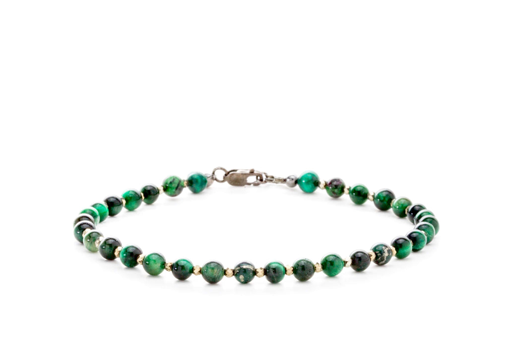 Crystal Healing Men Love Finder 02 Bracelet Malachite Epidote Tiger Eye Pyrite Full - Popvibe