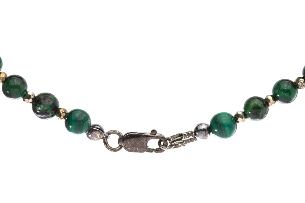 Crystal Healing Men Love Finder 02 Bracelet Malachite Epidote Tiger Eye Pyrite Vintage Black Ruthenium Sterling Silver Clasp - Popvibe