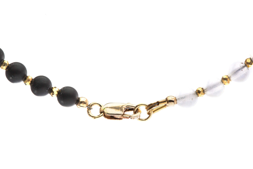 Crystal Healing Moon Bracelet Black Onyx Jasper Cloud Clear Quartz Pyrite 14K Gold Clasp - Popvibe