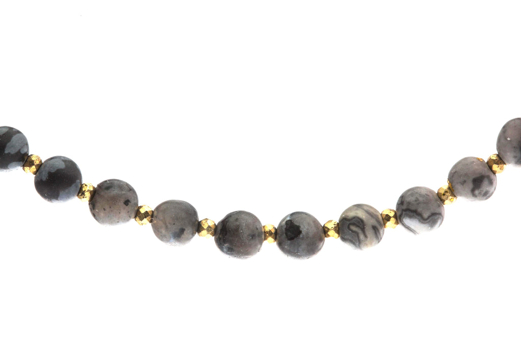 Crystal Healing Moon Bracelet Black Onyx Jasper Cloud Clear Quartz Pyrite Detail - Popvibe