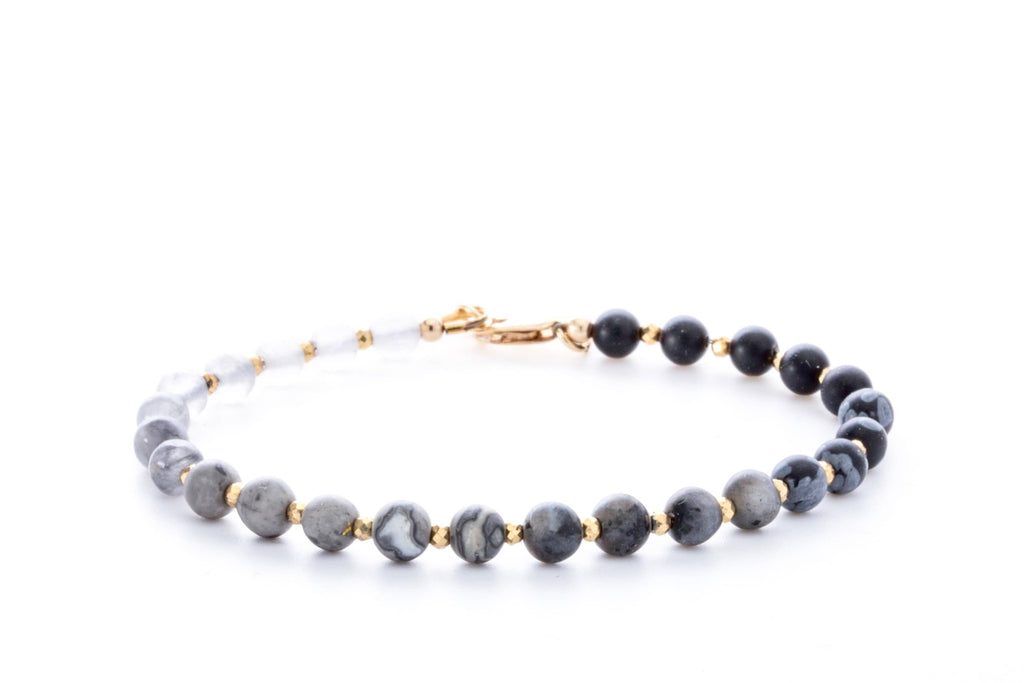 Crystal Healing Moon Bracelet Black Onyx Jasper Cloud Clear Quartz Pyrite Full - Popvibe