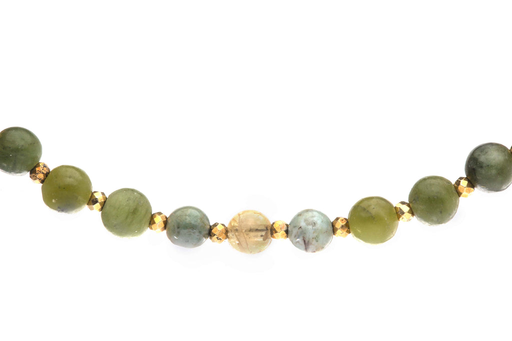 Crystal Healing Wealth Bracelet Jade Citrine Tiger Eye Tree Agate Aventurine Pyrite Detail - Popvibe