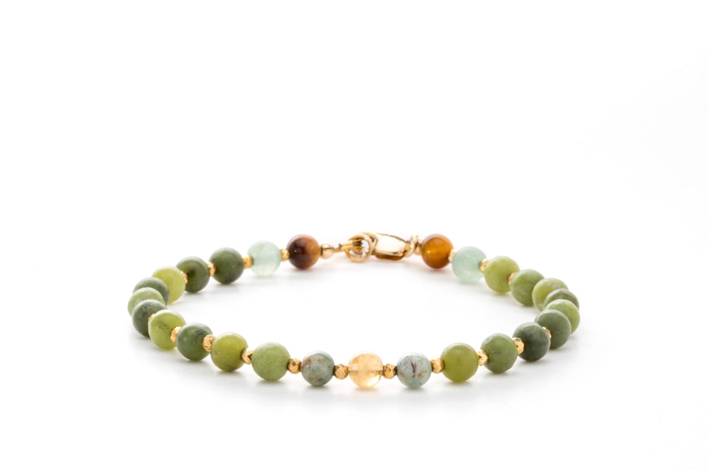Crystal Healing Wealth Bracelet Jade Citrine Tiger Eye Tree Agate Aventurine Pyrite Full - Popvibe
