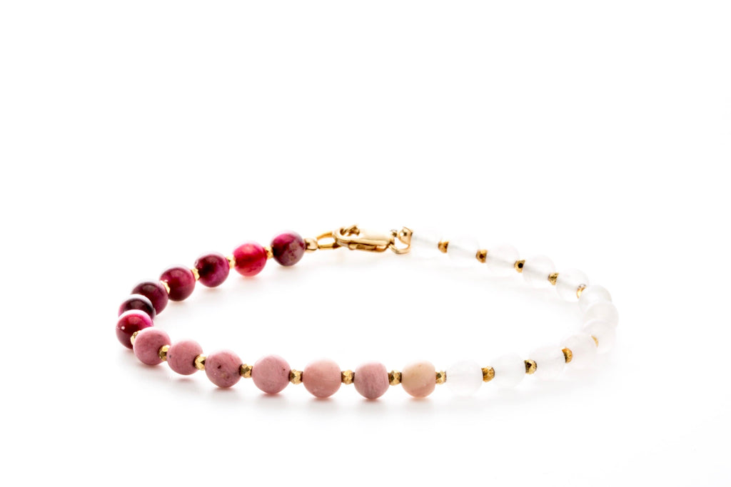 Crystal Healing Women Heart Bracelet Rose Quartz Rhodonite Pink Tiger Eye Pyrite Full - Popvibe