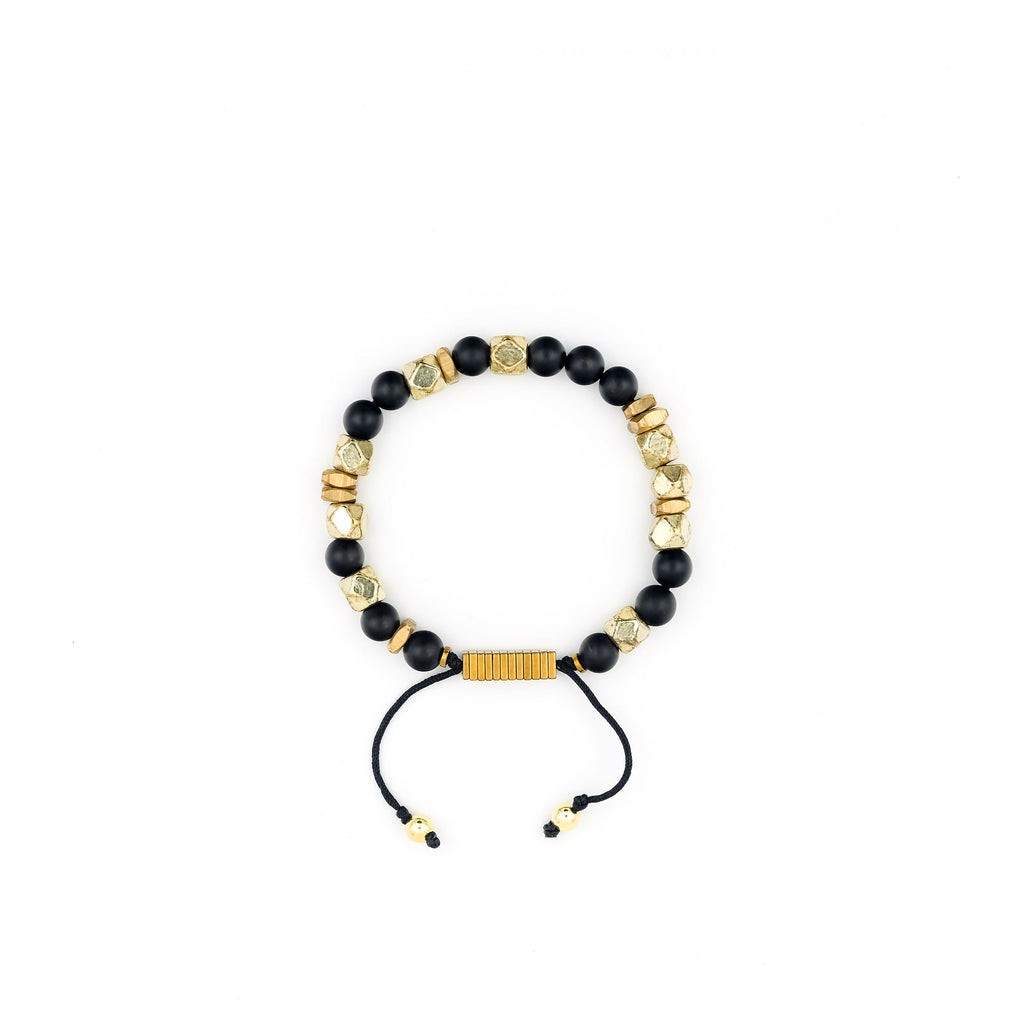Handcrafted designer stone bracelet with black onyx gold brass hematite beads - popvibe