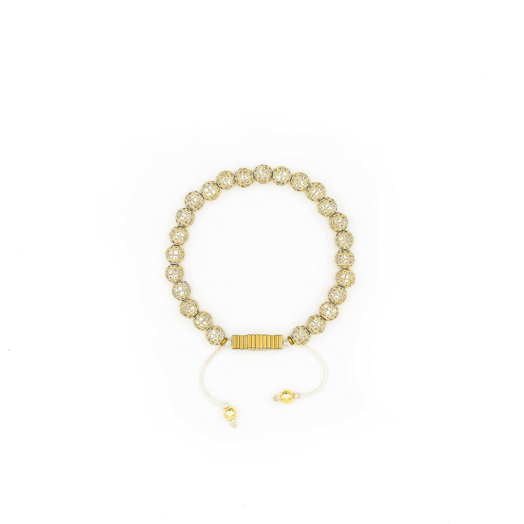 Handcrafted designer stone bracelet with gold cz diamond beads - popvibe