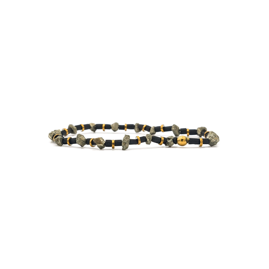 Raw Pyrite, Jade & Hematite Mini Heishi Stretch Bracelet | Ali Forney Center