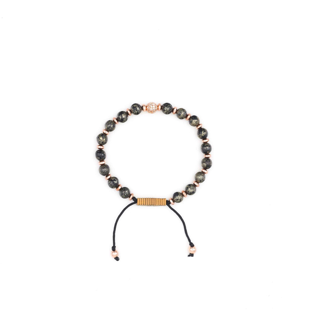 Handcrafted designer stone bracelet with kambaba jasper rose gold cz diamond beads - popvibe