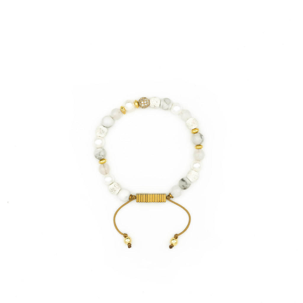 Lava Stone, Quartz, Howlite & Pearl Bracelet | Breast Cancer Research Foundation