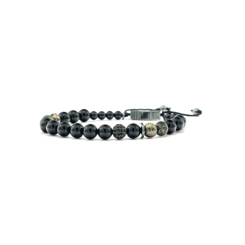 Handcrafted designer stone mini heishi stretch bracelet with black onyx pyrite hematite beads - popvibe