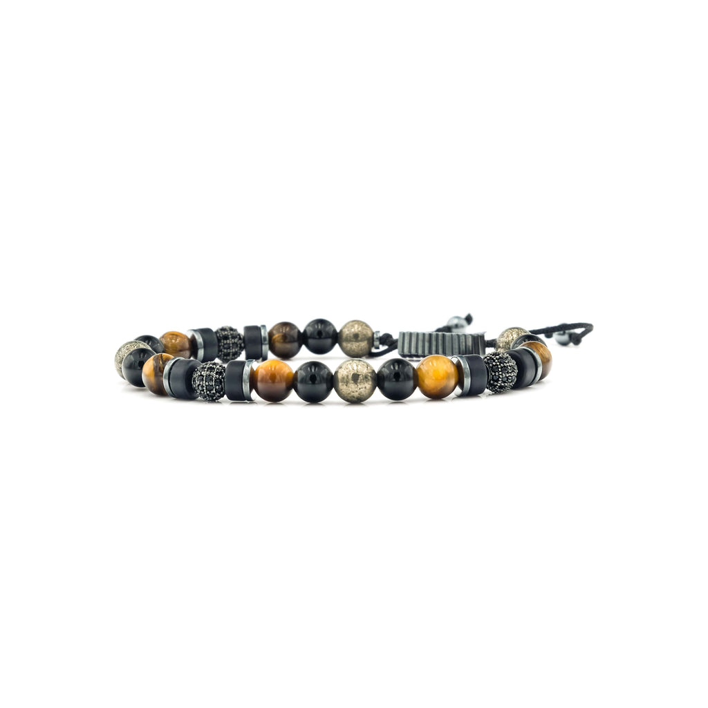 Onyx, Pyrite, Tiger Eye & Hematite Bracelet | Ali Forney Center