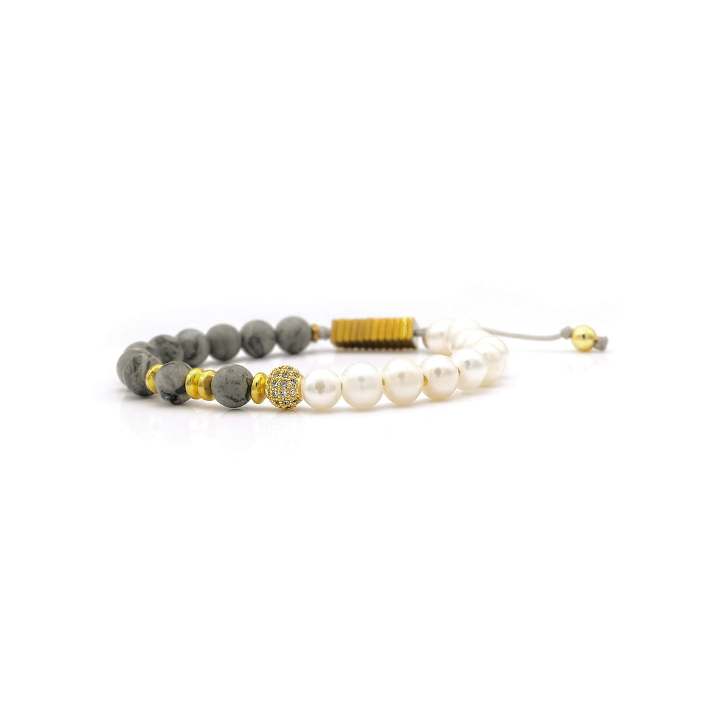 Jasper, Pearl & Hematite Bracelet | Breast Cancer Research Foundation
