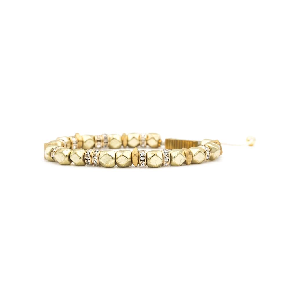 Handcrafted designer stone bracelet with gold filled cz diamond raw brass beads - popvibe