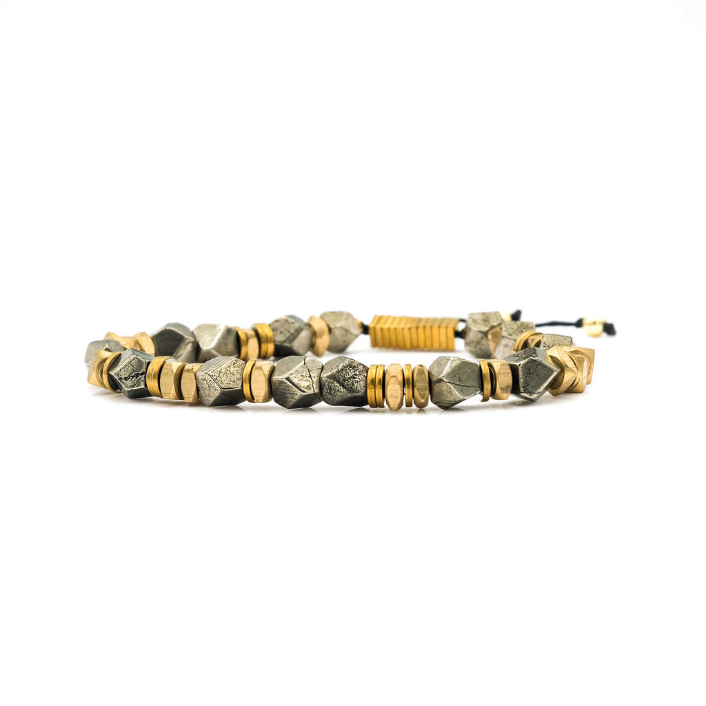 Handcrafted designer stone bracelet with raw pyrite gold brass beads - popvibe
