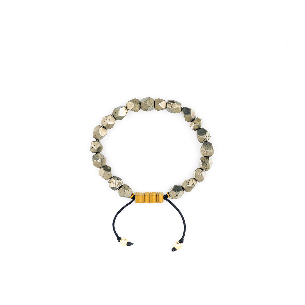 Handcrafted designer stone bracelet with raw pyrite beads - popvibe