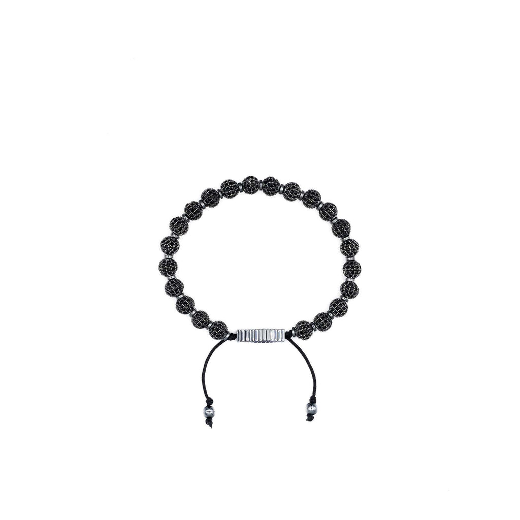 Handcrafted designer stone bracelet with black cz diamond beads - popvibe