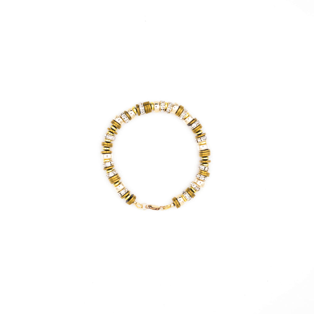 Handcrafted designer stone bracelet with gold filled cz diamond beads - popvibe